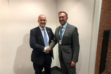 Jake Berry, Northern Powerhouse minister, and Andrew Jones, cities programme lead at AECOM.