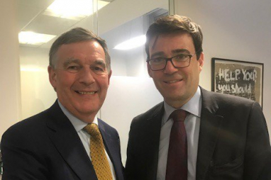 HS2 chair Allan Cook and Greater Manchester mayor Andy Burnham.