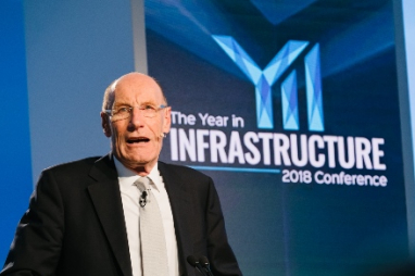 Sir John Armitt speaking at the 2018 Year in Infrastructure conference.