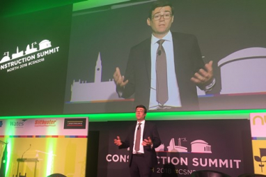 Greater Manchester mayor speaking at Construction Summit North.