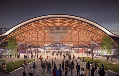 CGI of Birmingham's Curzon Street station, as Midlands Connect makes the case for HS2.