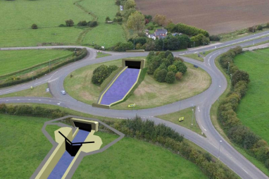 Artists impression of what the A38/A419 roundabout will look like with the new canal running through it