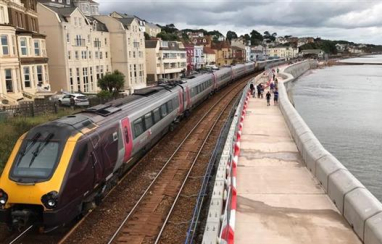 Vital south-west rail link now better protected as first section of new Dawlish sea wall has been built.