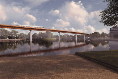 CGI of the first design of HS2's proposed APM system.