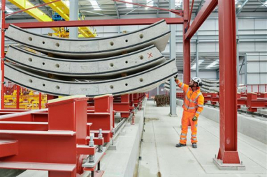 The first of 112,000 wall segments for HS2's Chiltern tunnel rolled off a purpose-built production line at the project's tunnelling HQ close to the M25.