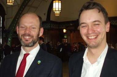 Jamie Driscoll (left), mayor of North of Tyne Combined Authority and Luke Raikes from IPPR North, at the IPPR conference in Newcastle.