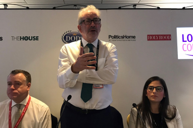 Former civil service head Bob Kerslake speaking on the fringe at Labour Party conference.
