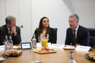 In conversation: (from left to right) Education secretary Damian Hinds MP, WSP apprentice Alex Gleave and Mark Naysmith, UK CEO WSP.