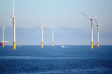 An offshore wind farm in Redcar on Teesside.