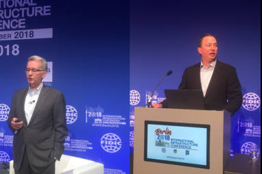 Greg Bentley (left) and Javier Baldor speaking at the FIDIC annual conference in Berlin.