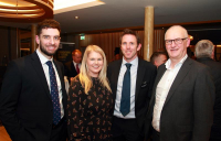 Sam McManus (AECOM), Sarah Venning (CEO NI Water), Duncan Gracie (AECOM) and Paul Harper (NI Water) at the launch of AECOM's Foundations of Future Growth report. Photo: Ian Campbell.