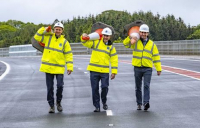 Opening the Dalry bypass. Pictured left to right are Gavin Dyett, Transport Scotland, Scottish transport secretary Michael Matheson and Brian Snow, Farrans Roadbridge.