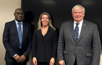 Picture shows (left to right) FIDIC chief executive, Nelson Ogunshakin, Maria Eugenia Roca, technical procurement advisor for the Inter-American Development Bank and William Howard, FIDIC president elect.