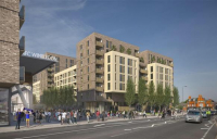 CGI of the proposed new homes on the site of the former Wimbledon Greyhound Stadium.