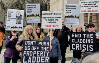 Angry residents demonstrating in London against unsafe cladding on their homes.