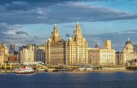 The iconic and majestic view of Liverpool's waterfront area.