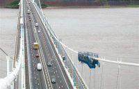 Cable inspection work taking place on the M48 Severn Bridge.