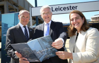 Midlands Connect chair Sir John Peace (left), rail minister Andrew Jones and Maria Machancoses, director, Midlands Connect, pictured at Leicester station.