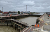 Construction work is well underway on £34m Port of Tilbury flood defence project.