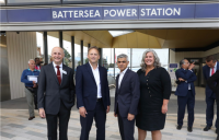 All aboard, l-r: London transport commissioner Andy Byford, transport secretary Grant Shapps, London mayor Sadiq Khan, and deputy mayor for transport Heidi Alexander, celebrate the extension of the Northern Line to Battersea Power Station.
