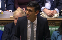Chancellor of the Exchequer Rishi Sunak delivering his first budget.