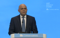 Chancellor of the exchequer Sajid Javid speaking at the Conservative Party conference in Manchester.