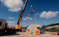 The new substation on the Midland Main Line at Low Meadow farm, north of Luton.