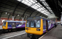 Aging Pacer trains at Darlington station.
